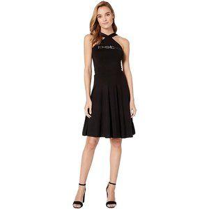 NWT BEBE fit and flare halter black  dress L 10 12